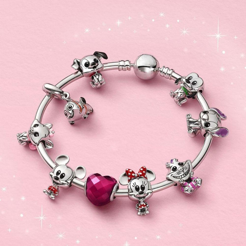 Original 925 Sterling Silver Disy Cartoon Animal Charm Beads With Original Engraving  Fit For DIY Bracelets Free Shipping