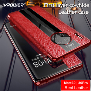 Image 1 - Mate 30 Luxury Genuine Leather Case For Huawei Mate 30 pro Case Smart Leather Flip Case For Huawei Mate30 Pro Protector Cover