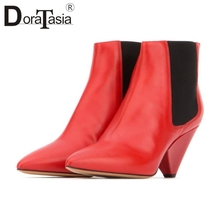 DORATASIA New Fashion Big Size 33-43 Luxury Genuine Leather Pointed Toe Shoes Woman Casual Party OL Autumn Spring Ankle Boots