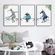 Horse Donkey Bear Riding Bicycle Living Room Decoration Canvas Painting Animal Cycling Modern Hanging Painting Wall Art Canvas(China)