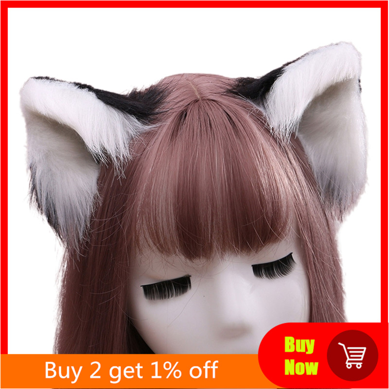 Lovely Furry Animal Beast Ears Hair Clip Anime Lolita Wolf Cat Cosplay Hairpins X7YA