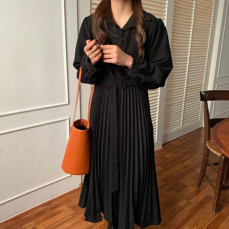 H250622625c1c4a758901ca6d4bcb57d2a - Autumn Turn-Down Collar Long Sleeves Pleated Solid Midi Dress