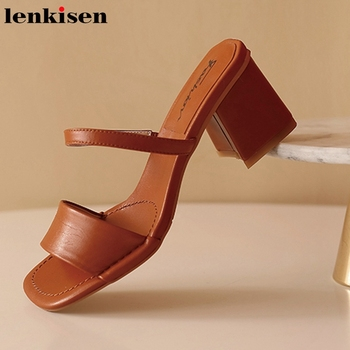 Lenkisen fashion new streetwear sheep leather high quality ventage slipper thick high heels slip on party beauty lady pumps L0f1