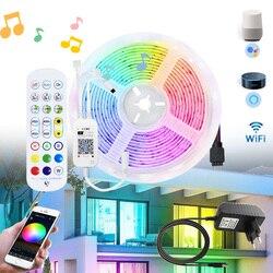Светодиодные ленты светильник 20 м 5 м 10 м 15 м Водонепроницаемый RGB 5050 2835 светодиодные ленты приложение Wi-Fi для Alexa Управление гибкие светодиод...