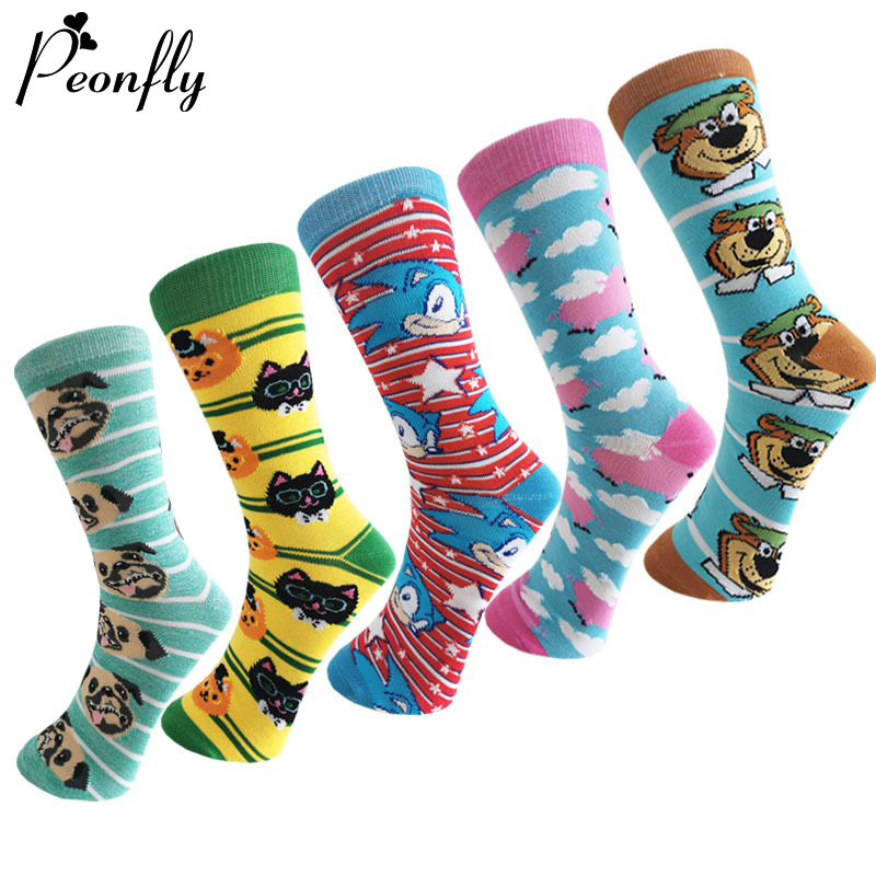 PEONFLY New 2020 Spring Cartoon Socks Men Fashion Cute Cat Dog Pig Pattern Happy Sock Novelty Harajuku Hip Hop Cotton Socks