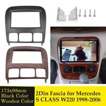 Doppel Din Audio Fascia für Mercedes BENZ S KLASSE W220 Radio DVD Stereo Panel Dash Kit Installation Refit Rahmen adapter Lünette