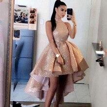 Prom-Dresses Sparkly Vestidos-De-Noche Princess Mini Gold Sequin Thinyfull Hi-Low