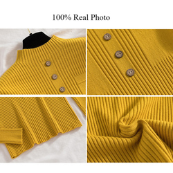 Womens Sweaters 2019 New Fashion Button Turtleneck Sweater Women Soft Knitted Ladies Sweater Winter Tops Pullover Jumpers Ladies 6