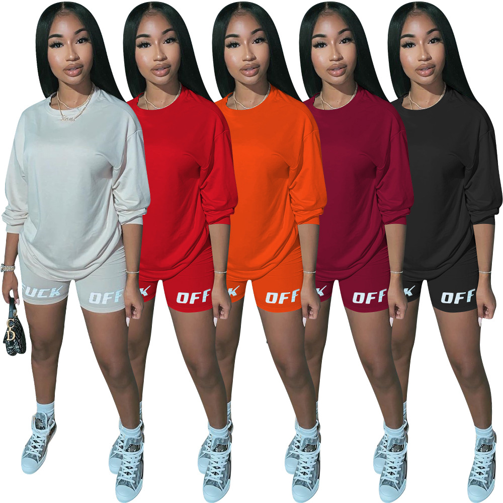 Letter Print Causal Two Piece Set Women Clothing Round Neck Long Sleeve T Shirt And Bodycon Biker Shorts Plus Size 2 Pcs Outfit