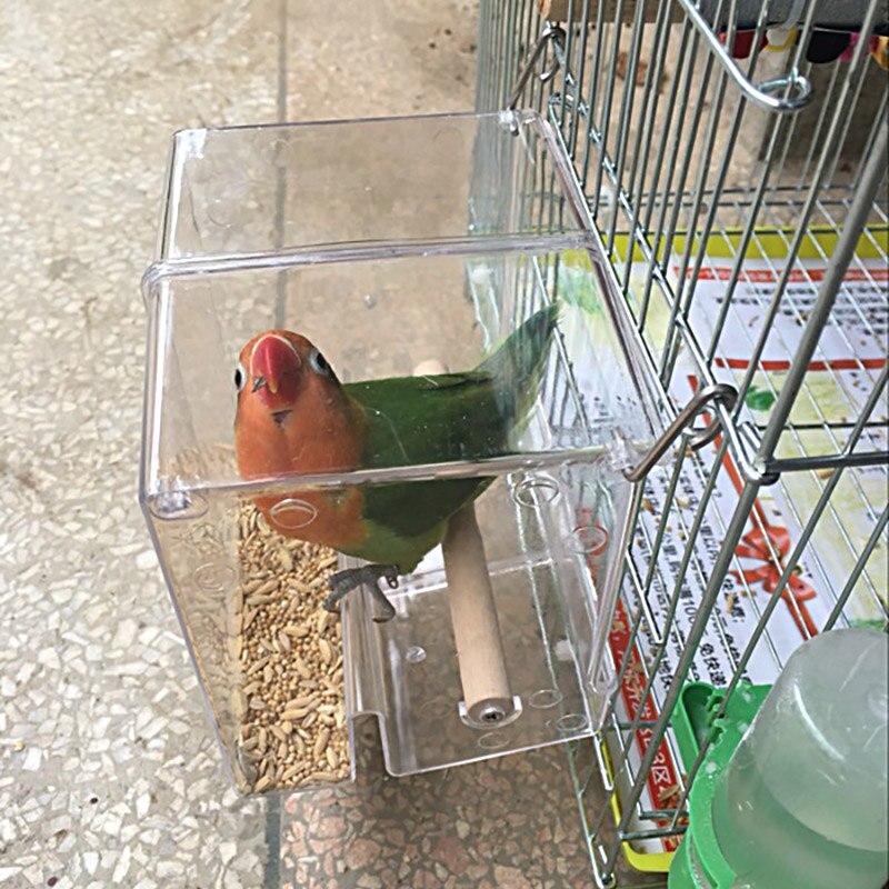 Caitec papagaio à prova de derramamento caixa de alimentação pássaro caixa de alimentos papagaio recipiente de alimentos mordida resistente adequado para pequenas aves pequeno papagaio