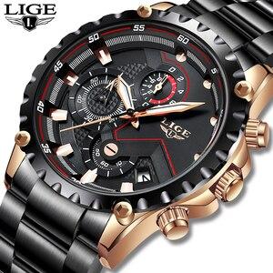 Image 2 - LIGE Reloj de lujo para hombre, cronógrafo deportivo de acero inoxidable, resistente al agua, de pulsera de cuarzo, Masculino