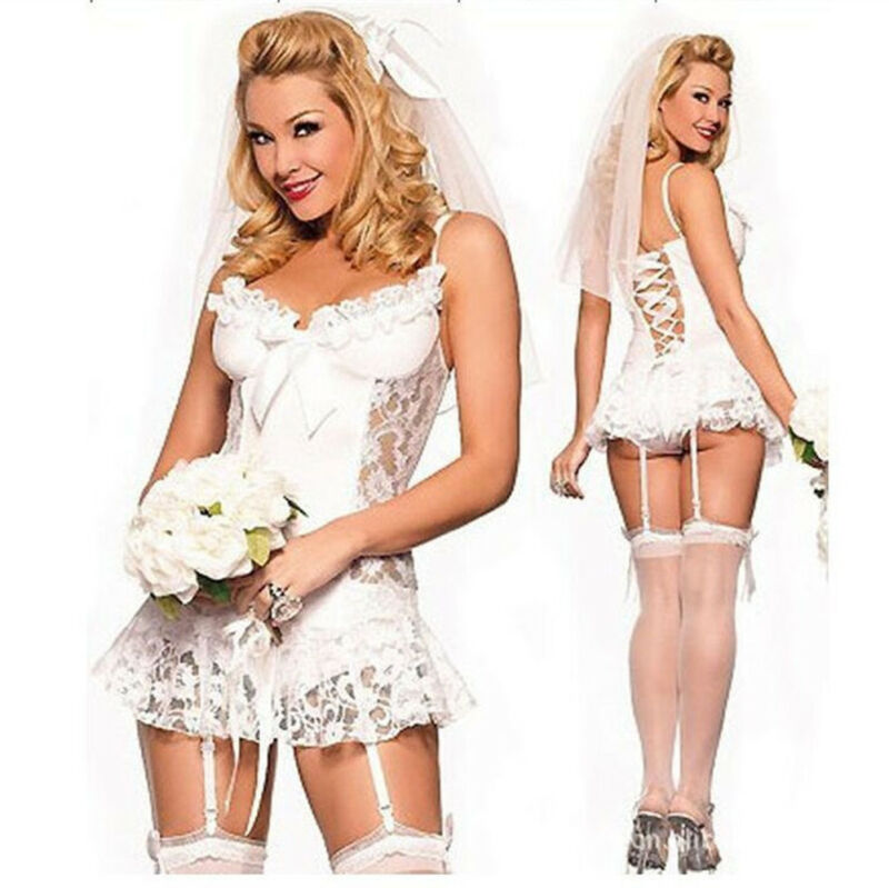 Womens Sexy Lace Bride Lingerie See-through Backless Nightwear Underwear Babydoll Intimate Sleepwear