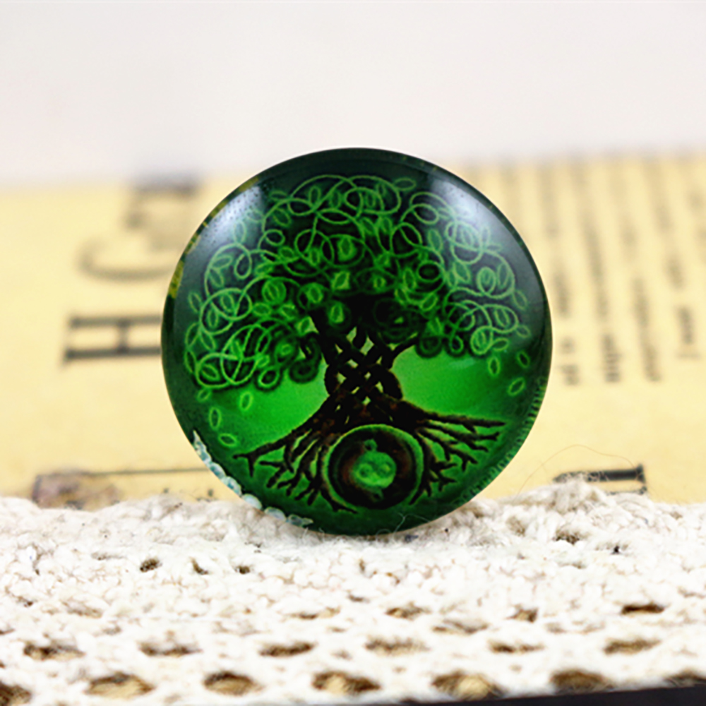 New Fashion 5pcs/Lot 25mm Green Tree Handmade Photo Glass Cabochons Pattern Domed Jewelry Accessories Supplies-F2-41
