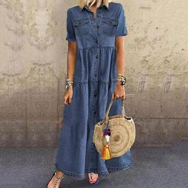 Denim Dress Retro Women Short Sleeve Turn Down Collar Pockets Button Long Loose Denim Dress Pockets Button Long Loose Plus size 2