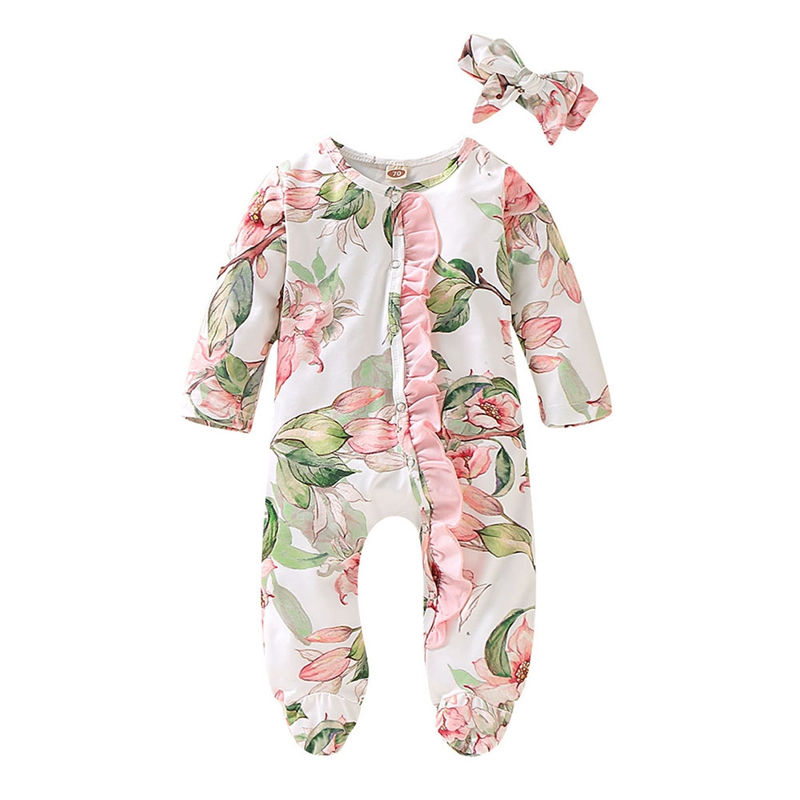 2PCS Free Hairband Spring Autumn Baby Clothing Newborn Soft   Rompers   0-18m Infant Jumpsuit Baby Floral Costumes Pajamas