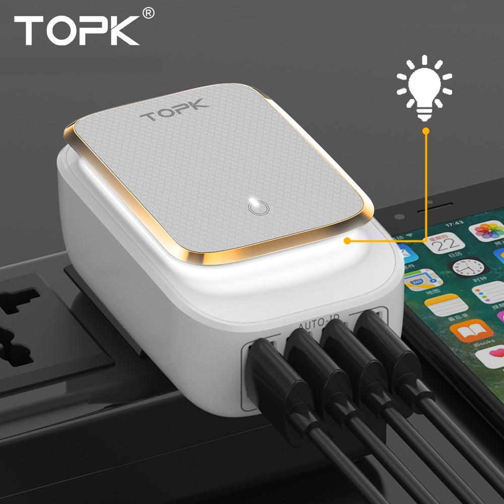 TOPK 4-יציאת 4.4A (מקס) 22W האיחוד האירופי USB מטען מתאם LED מנורת אוטומטי מזהה נייד טלפון נסיעות מטען קיר עבור iPhone סמסונג