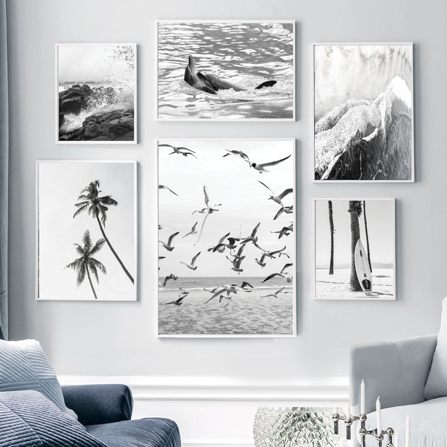 Forest Fox Trees Black And White Landscape Art Large Poster /& Canvas Pictures