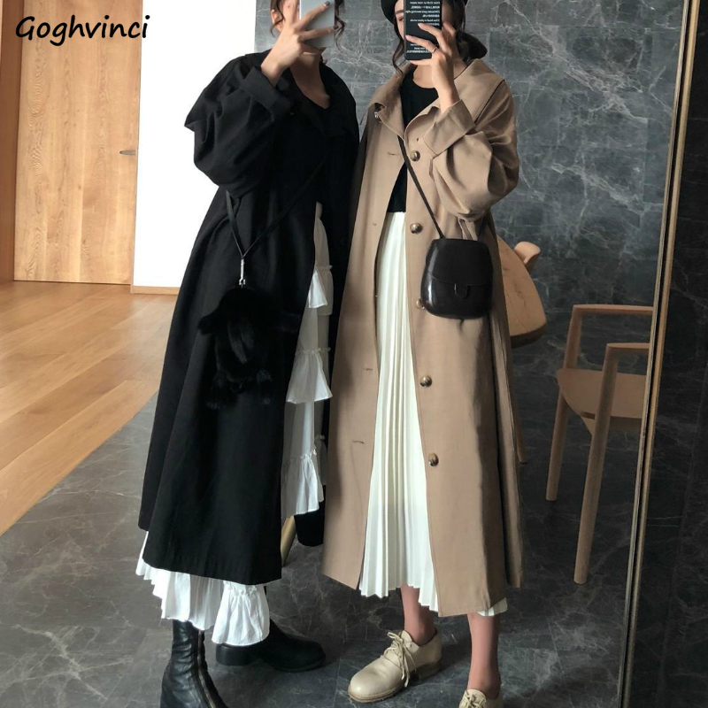 Trench Coat Women Long Style Solid Loose Button Daily Outwear Womens All-match Streetwear Leisure Elegant Chic Retro Fashion New