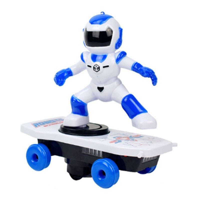 Automatic Rotation Electric Skateboard Dancing Spider Man Robot Walking Toy Gift