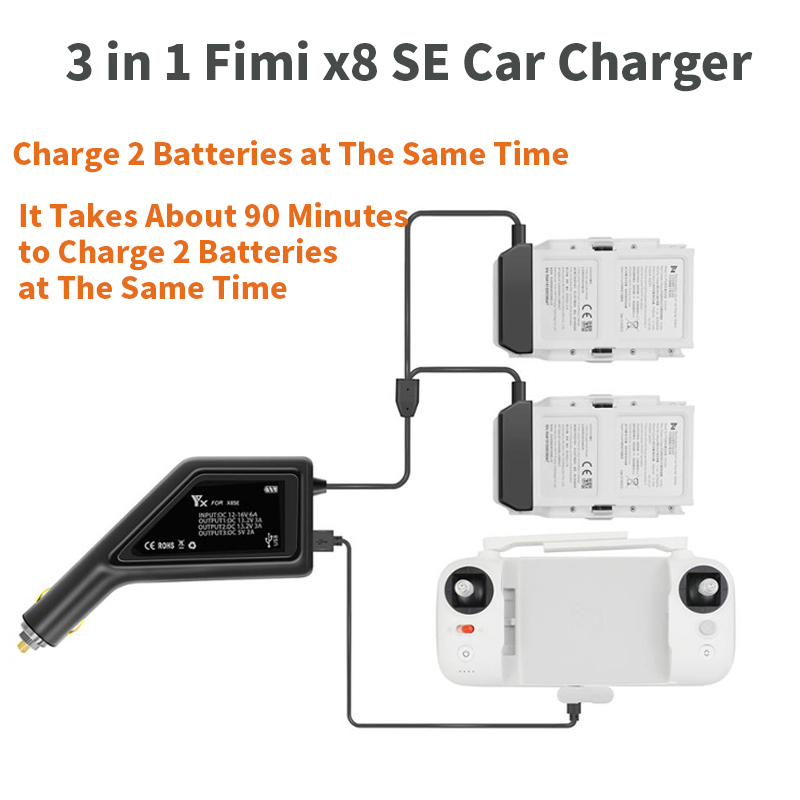 SEASKY FIMI X8 SE Drone Car Charger fast charging 3-in-1 Multi-charger Saves time