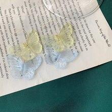 Transparente acrílico borboleta brincos feminino elegante resina instrução dois animais sobrepostos bijoux coreano moda jóias