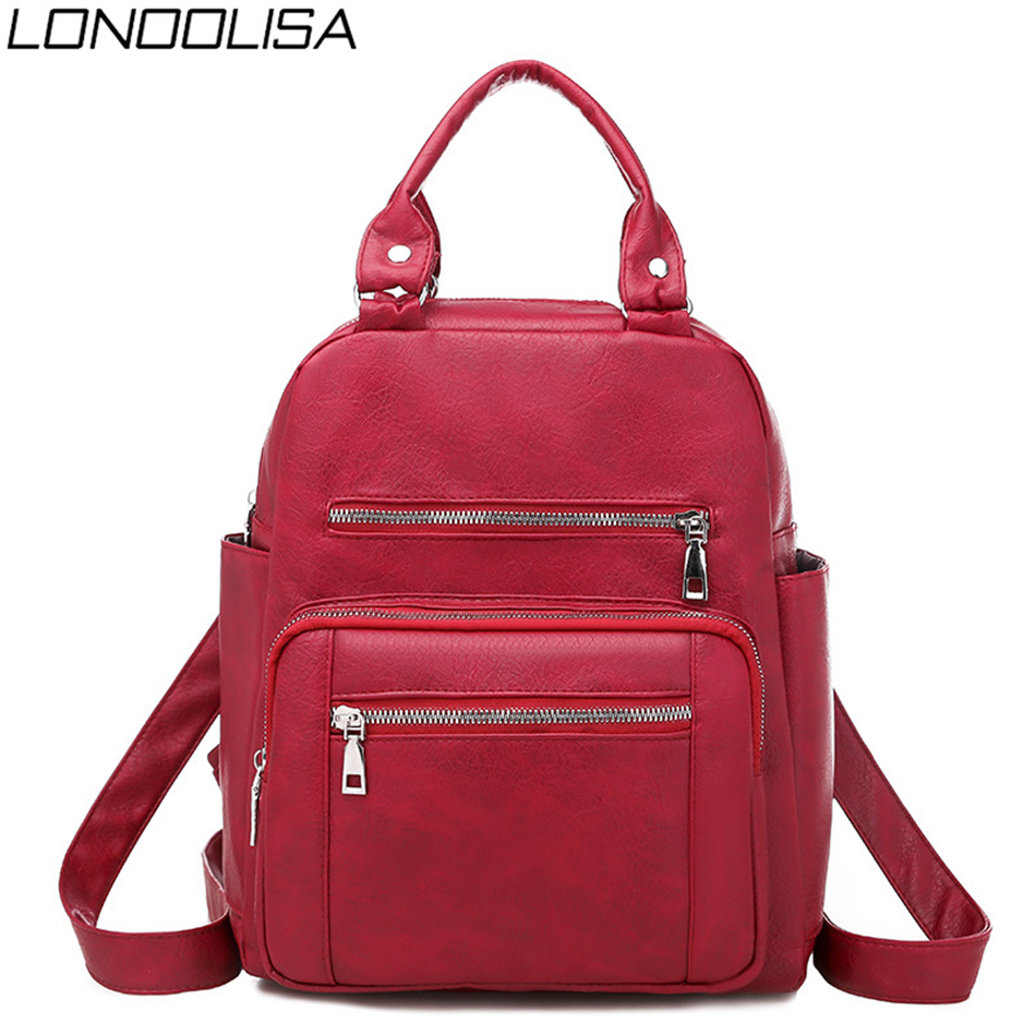 Fashion Brand Ladies Travel Backpack Multifunction Backpack For School Teenager Girls High Quality Soft Leather Bagpack Women