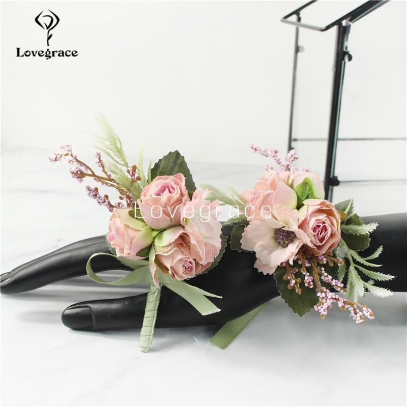 Silk Roses Flowers Groom Boutonniere Bridal Wrist Bracelet Wedding Decor Mariage Women Corsage Brooch Best Man Suit Buttonholes