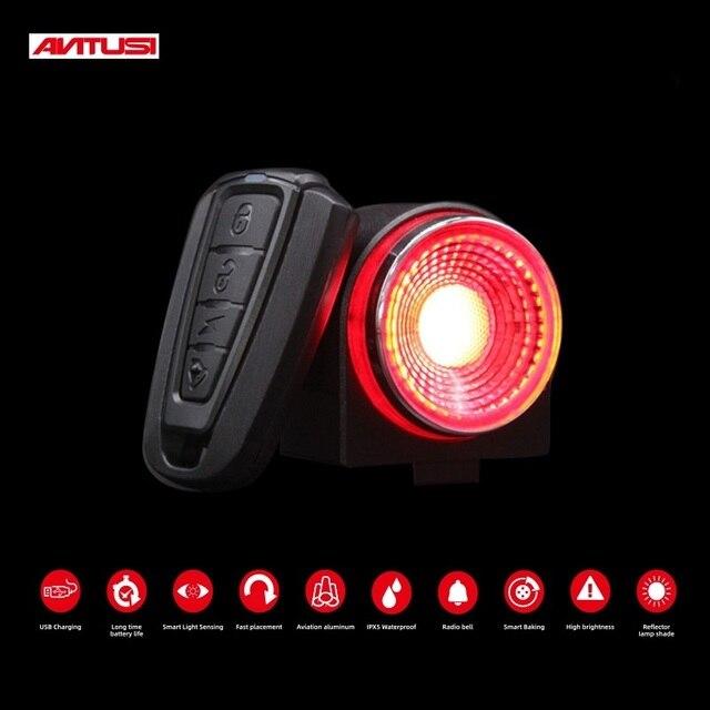Антивор для дорожного велосипеда ANTUSI, автоматический тормозной сигнал, задний фонарь, дистанционное управление, беспроводной звонок для горного велосипеда