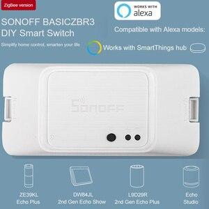 Sonoff BasicZBR3 Zigbee умный переключатель умный дом беспроводной пульт дистанционного управления DIY таймер переключатель работает с Alexa SmartThings Hub ...