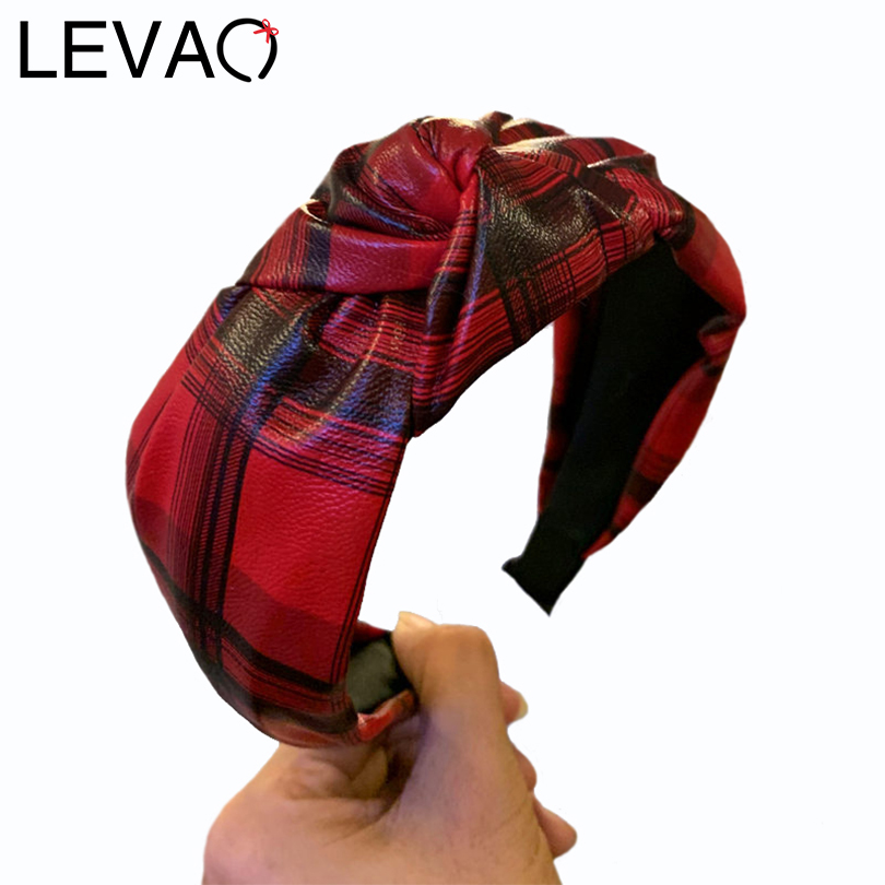 LEVAO Synthetic Leather Hairbands Plaid Headband Knot Bezel Wide Size Turban Women Girls Hair Accessories New Hair Hoop Headwear