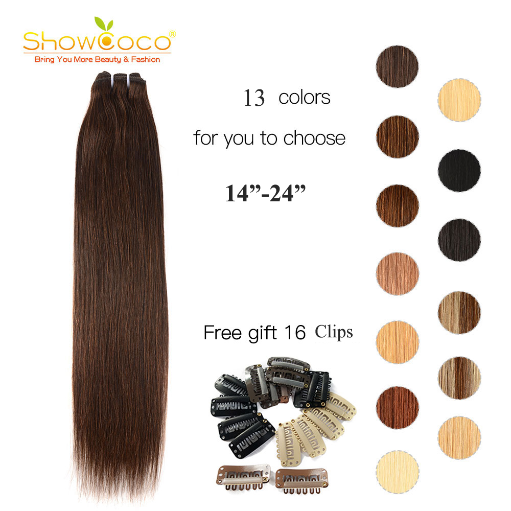 ShowCoco Human Hair Bundles Straight Brazilian Hair Weave Deals Blonde Machine Made Remy 13 Colors 14-24 Sew In Weft