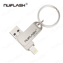 Nuiflash dysk Flash Usb pendrive dla iPhone 6 serii 7 7Plus 8 X Usb Otg błyskawica Pen Drive dla iOS zewnętrznych urządzeń pamięci masowej tanie tanio CN (pochodzenie) NONE Usb 3 0 Metal 9 9g NF-USB-32 Flash disk Rectangle Grudnia 2016