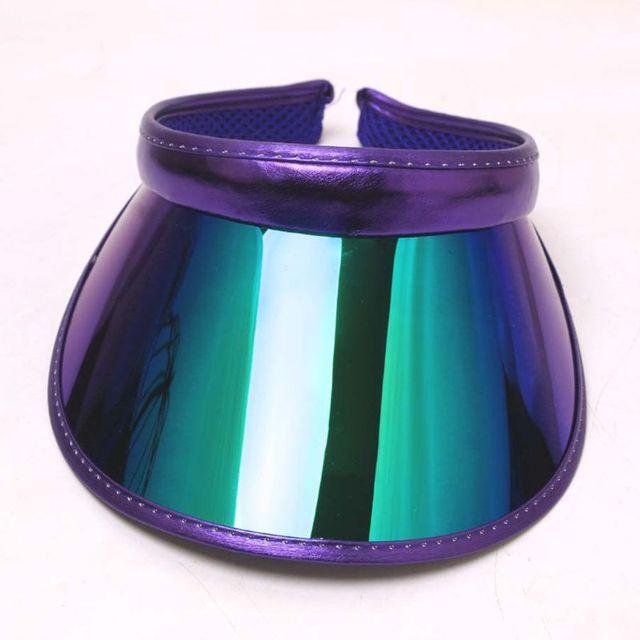 Hologramme pour hommes et femmes   Chapeau à large bord, visière solaire Topless, Protection contre les UV, panneau en plastique, vêtements de sport, casquette dété à Clip