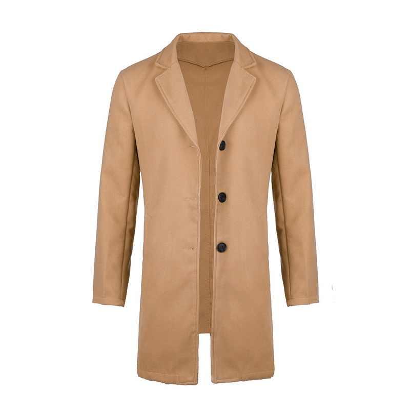 CYSINCOS 가을 겨울 남성 브랜드 양털 블렌드 자켓 남성 오버 코트 솔리드 슬림 칼라 코트 롱 코튼 트렌치 코트 Streetwear