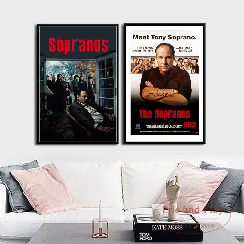 Classic TV Series Show The Sopranos <font><b>Gangster</b></font> Mafia Art Painting Vintage Canvas <font><b>Poster</b></font> Wall Home Decor image