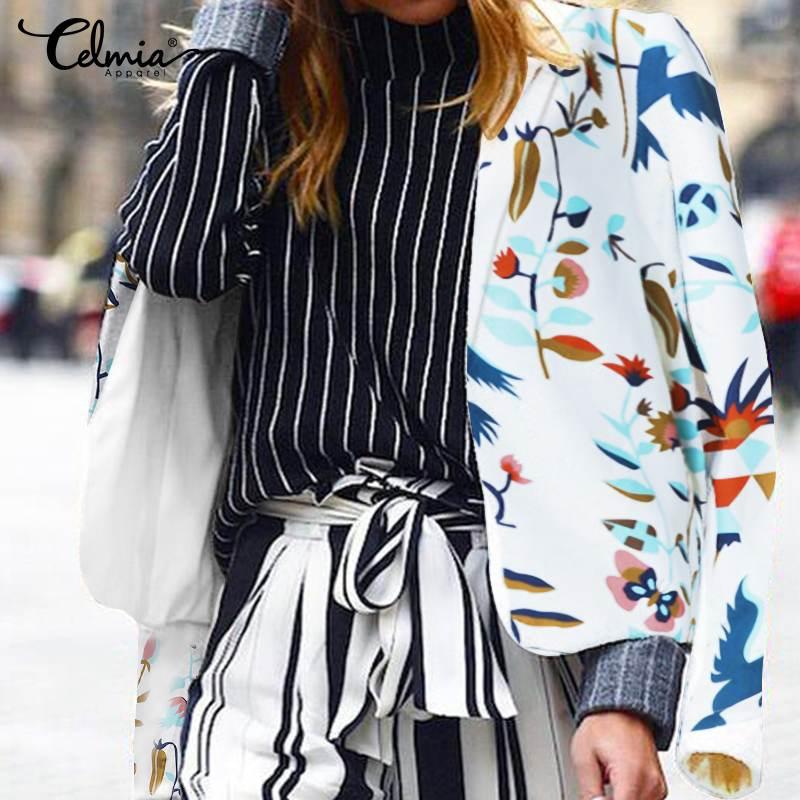 Women Autumn Blazers Suits Celmia 2019 Winter Long Sleeve Floral Print Female Coats Elegant Office Ladies Jackets Plus Size Tops