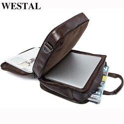 WESTAL męska torba ze skóry naturalnej na męskie teczki torebki biurowe dla mężczyzn skórzana torba na laptopa dokument walizka biznesowa torebka