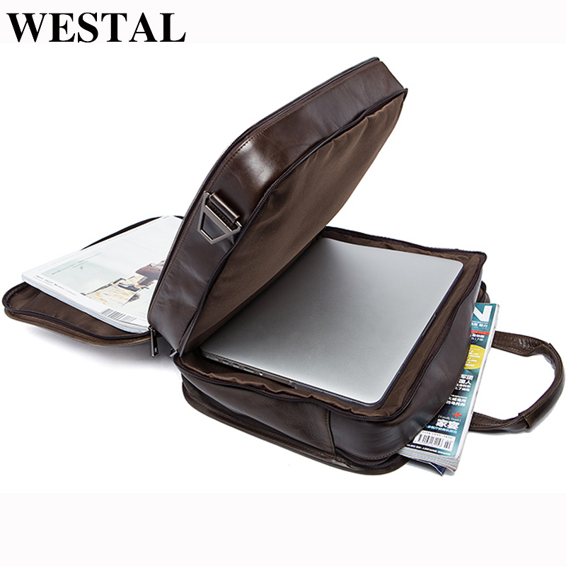 WESTAL men's genuine leather bag for men's briefcase office bags for men leather laptop bag document business briefcase handbag