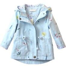 Новая весенне-осенняя ветровка для девочек, детская верхняя одежда с капюшоном и цветочной вышивкой, детские пальто, куртка