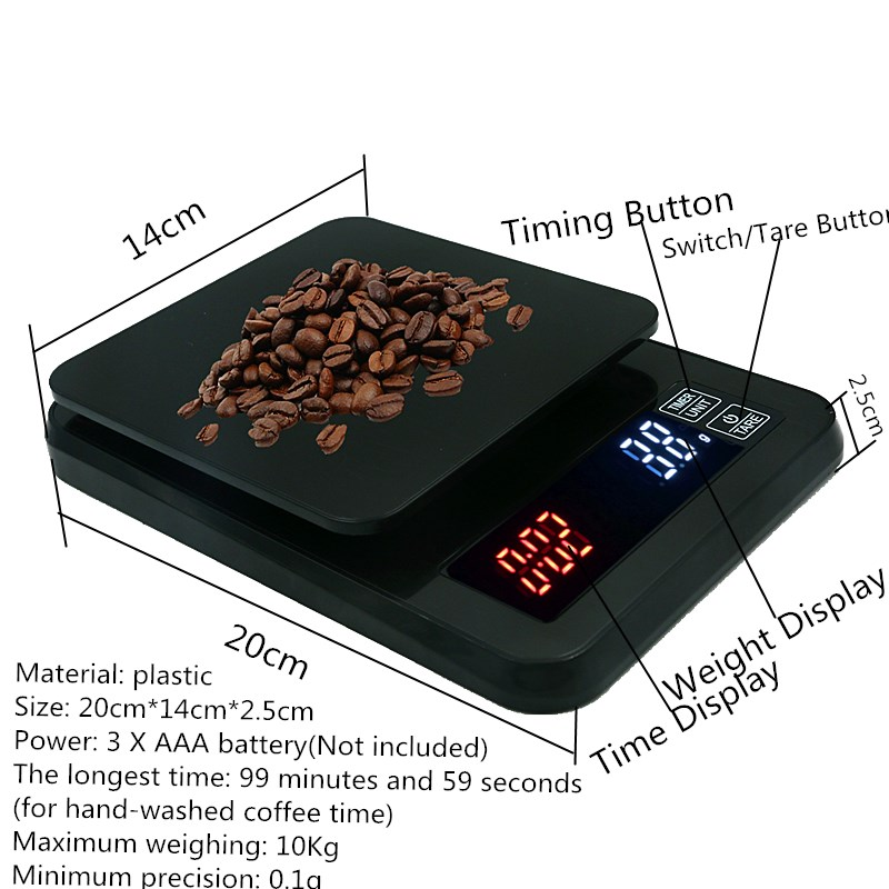 Цифровые весы для кофе, весы для ювелирных изделий, ЖК-дисплей с таймером, электронные кухонные весы для лекарств, капельные весы, скидка 30%-3