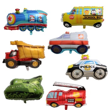 DIY Cartoon Car Balloons Fire Truck Car Train Foil Balloon Ambulance Globos Children Gifts Birthday Party Decorations Kids balls image