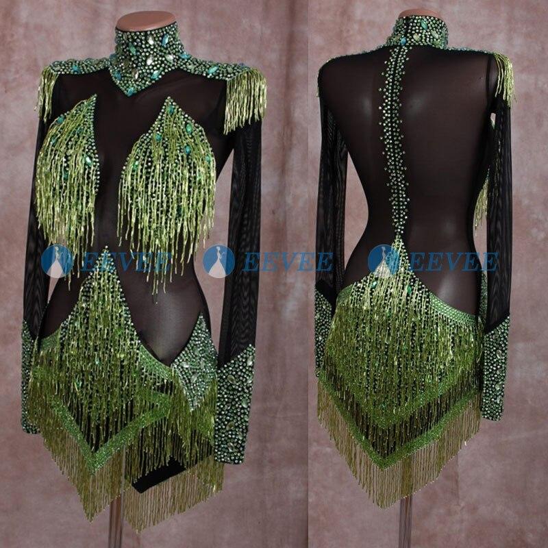 Black See Through Latin Dance Dress Shiny Beaded Tassel Latin Dance Competition Costume Salsa ChaCha Custom-made Dance Dress