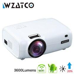 WZATCO E600 الروبوت 9.0 واي فاي الذكية المحمولة مصغرة جهاز عرض (بروجكتور) ليد HDMI دعم كامل HD 1080p 4K فيديو المسرح المنزلي متعاطي المخدرات Proyector