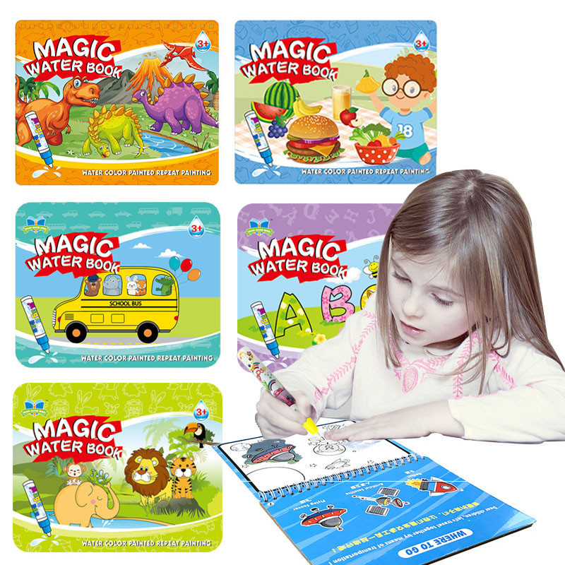 Reusable Magic Water Drawing Book Coloring Book Doodle & Magic Pen Painting Drawing Board For Kids Educational Toy Birthday Gift