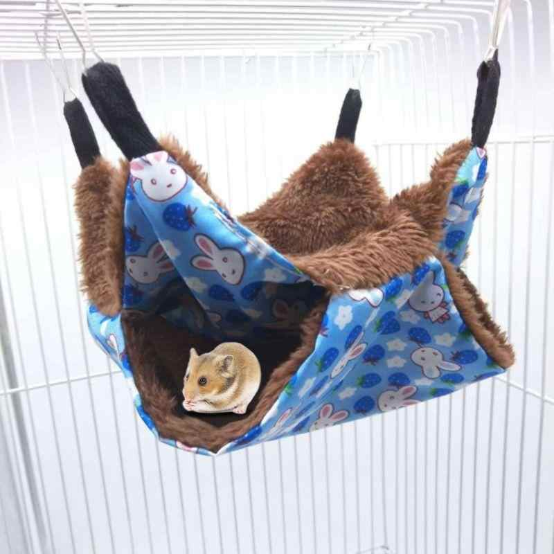 Pet Hammock Double-layer Plush Soft Hanging Nest Sleeping Bed Small Winter Warm Pets Hamster Squirrel Chinchilla House