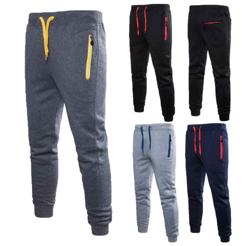NEW 2019 Men Casual Pants Long Trousers Tracksuit Gym Sport Workout Joggers Solid Pockets Sweatpants Plus Size M-3XL