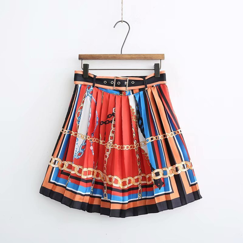 2019 Spring New Style Europe And America Fashion High-waisted Belt Color Chain Printed Pleated Skirt Short Skirt A- Line Skirt