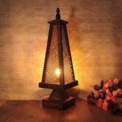 Azja południowo wschodnia styl Retro drewniany stół restauracja światła rocznika sypialnia salon nocna dekoracyjna lampka stołowa