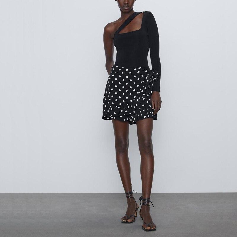 Summer Women's Shorts Casual Dot Print Ruffled Decorative Shorts