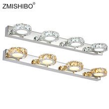 ZMISHIBO Round Crystal Mirror Lamp 3W/6W/9W/12W Champagne/White Waterproof LED Wall Light 100-240V Bathroom Stainless Steel